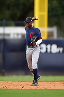 Grant Bodison (15) of Mauldin High School in Simpsonville, South Carolina playing for the Cleveland Indians scout team during the East Coast Pro Showcase on July 28, 2015 at George M. Steinbrenner Field in Tampa, Florida.  (Mike Janes/Four Seam Images)