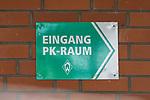 """24.06.2020, wohninvest Weserstadion Trainingsplatz, Bremen, GER, 1. FBL, Training SV Werder Bremen, <br /> <br /> im Bild<br /> Schild """"Eingang PK-Raum"""". Feature, Symbol, Symbolfoto, charakteristisch, Detail.<br /> <br /> Foto © nordphoto / Paetzel"""