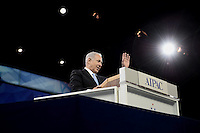 Washington, DC - March 4, 2014:  Israeli Prime Minister Benjamin Netanyahu greets attendees of the AIPAC Policy Conference March 3, 2014.   (Photo by Don Baxter/Media Images International)