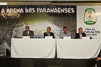 CURITIBA, PR, 13 DE FEVEREIRO 2012 – copa 2014 – No final da manhã de segunda-feira (13), o ministro dos Esportes, Aldo Rebelo, visitou, em Curitiba, as obras do Estádio Arena da Baixada. Na foto o presidente do Clube Atlético Paranaense, Mario Celso Petraglia (esquerda); o ministro Aldo Rebelo (esquerda); o governador do Paraná, Beto Richa; e o prefeito de Curitiba, Luciano Ducci.<br /> (FOTO: ROBERTO DZIURA JR./ NEWS FREE)