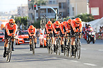 CCC Team in action during Stage 1 of La Vuelta 2019, a team time trial running 13.4km from Salinas de Torrevieja to Torrevieja, Spain. 24th August 2019.<br /> Picture: Luis Angel Gomez/Photogomezsport | Cyclefile<br /> <br /> All photos usage must carry mandatory copyright credit (© Cyclefile | Luis Angel Gomez/Photogomezsport)