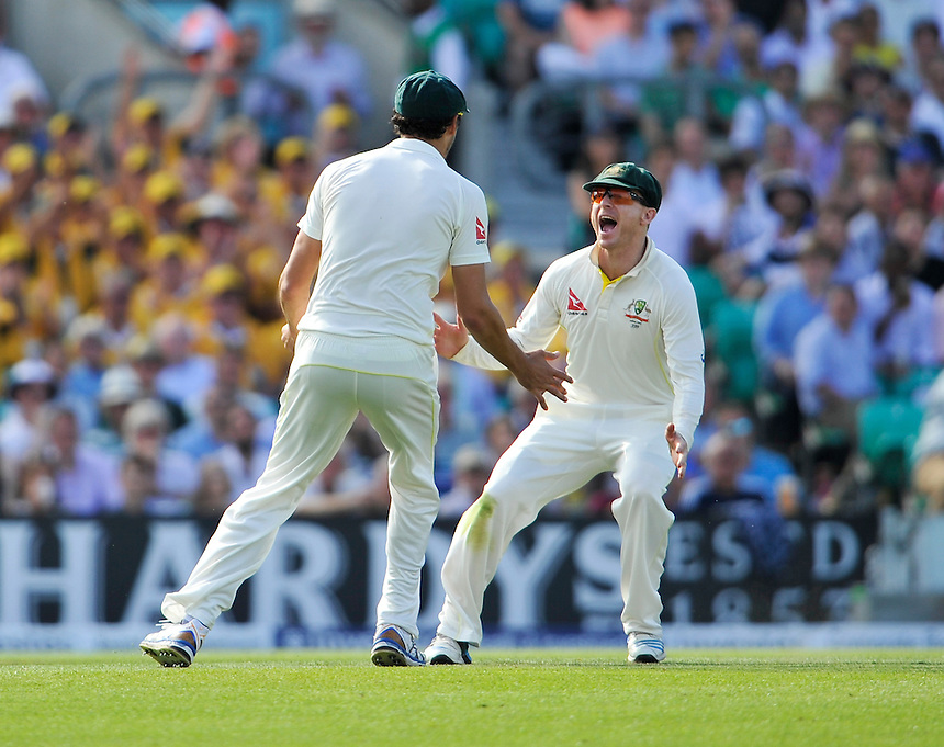 Australia's Chris Rogers (right) congratulates Mitchell Starc on catching England's Adam Lyth off the bowling of Peter Siddle<br /> <br /> Photographer Ashley Western/CameraSport<br /> <br /> International Cricket - Investec Ashes Test Series 2015 - Fifth Test - England v Australia - Day 2 - Friday 21st August 2015 - Kennington Oval - London<br /> <br /> &copy; CameraSport - 43 Linden Ave. Countesthorpe. Leicester. England. LE8 5PG - Tel: +44 (0) 116 277 4147 - admin@camerasport.com - www.camerasport.com