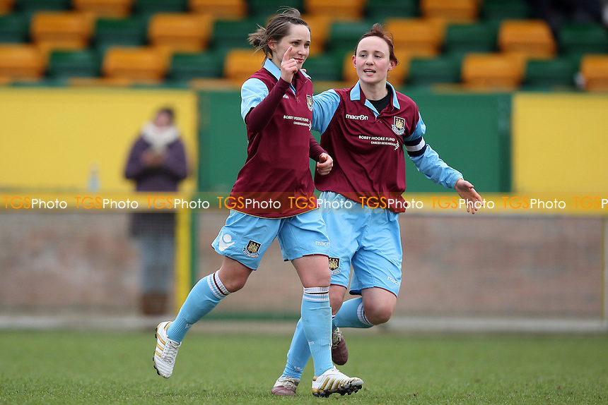 Nina Downham celebrates scoring the first goal for West Ham - West Ham United Ladies vs Colchester United Ladies - FA Women's Cup 4th Round Football at Ship Lane, Thurrock FC - 06/03/11 - MANDATORY CREDIT: Gavin Ellis/TGSPHOTO - Self billing applies where appropriate - Tel: 0845 094 6026