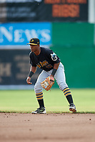 West Virginia Black Bears second baseman Raul Siri (12) during a game against the Batavia Muckdogs on June 19, 2018 at Dwyer Stadium in Batavia, New York.  West Virginia defeated Batavia 7-6.  (Mike Janes/Four Seam Images)