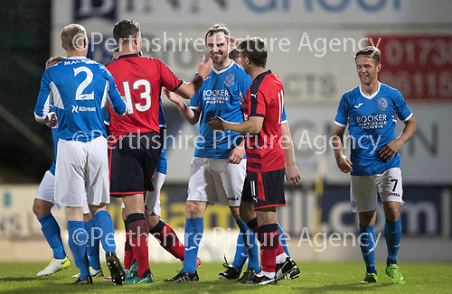 Dave Mackay Testimonial: St Johnstone v Dundee&hellip;06.10.17&hellip;  McDiarmid Park&hellip; <br />Dave Mackay celebrates his goal with Neil McCann and Graham Gartland<br />Picture by Graeme Hart. <br />Copyright Perthshire Picture Agency<br />Tel: 01738 623350  Mobile: 07990 594431
