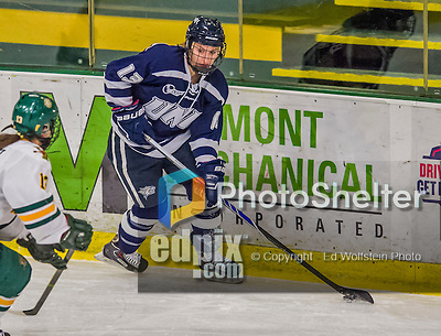 13 February 2015: University of New Hampshire Wildcat Forward Amy Boucher, a Freshman from Edmonton, Alberta, in first period action against the University of Vermont Catamounts at Gutterson Fieldhouse in Burlington, Vermont. The Lady Wildcats defeated Vermont 4-2 in the first game of their weekend Hockey East series. Mandatory Credit: Ed Wolfstein Photo *** RAW (NEF) Image File Available ***