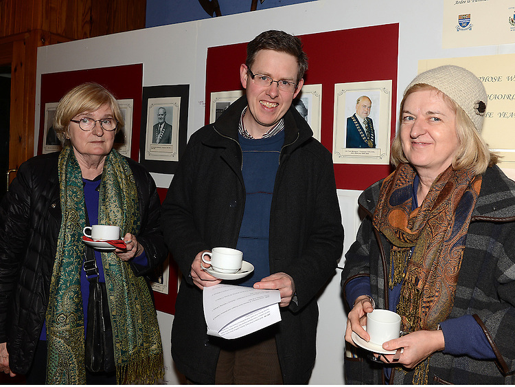 Mary Rose Callaghan, Seamus Roe and Olwyn Callaghan at the Ardee Town Council reunion for past members held in Ardee Castle. Photo:Colin Bell/pressphotos.ie