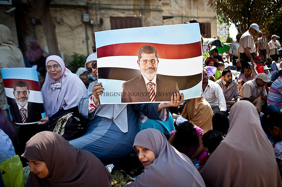 Supporters of the Egyptian President mohammed Morsi started a sit-in at the Rabaa El Adewia Mosque in support of the PResident and to counter the opposition movement Rebel. <br /> <br /> Les partisans du president egyptien Mohammed Morsi ont commence un sit-in a la mosquee El Rabaa Adewia afin de supporter le President et de contrer le mouvement &quot;rebelle&quot; de l'opposition.