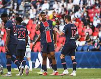 21st July 2020, Parc de Princes, Paris, France; Friendly club football, PSG versus Celtic;   Presnel KIMPEMBE of PSG celebrates his goal with Pablo SARABIA