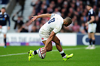 Jonathan Joseph of England runs in his third try of the match. RBS Six Nations match between England and Scotland on March 11, 2017 at Twickenham Stadium in London, England. Photo by: Patrick Khachfe / Onside Images
