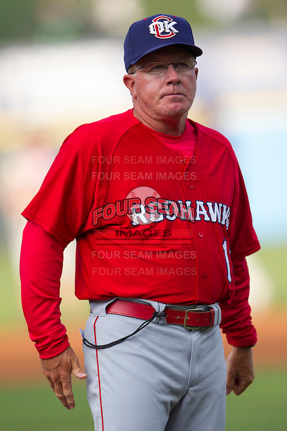 Oklahoma City Redhawks Interim manager Tom Lawless #12 AAA during the Pacific Coast League baseball game against the Round Rock Express on April 3, 2014 at the Dell Diamond in Round Rock, Texas. The Redhawks defeated the Express 7-6 in the season opener for both teams. (Andrew Woolley/Four Seam Images)