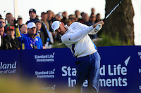 Thomas Bjorn (EUR) on the 2nd tee during the Saturday Fourball Matches of the Ryder Cup at Gleneagles Golf Club on Saturday 27th September 2014.<br /> Picture:  Thos Caffrey / www.golffile.ie