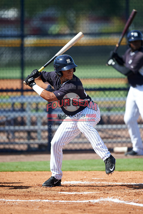 GCL Yankees East second baseman Jesus Graterol (25) at bat during a game against the GCL Yankees West on August 3, 2016 at the Yankees Complex in Tampa, Florida.  GCL Yankees East defeated GCL Yankees West 12-2.  (Mike Janes/Four Seam Images)