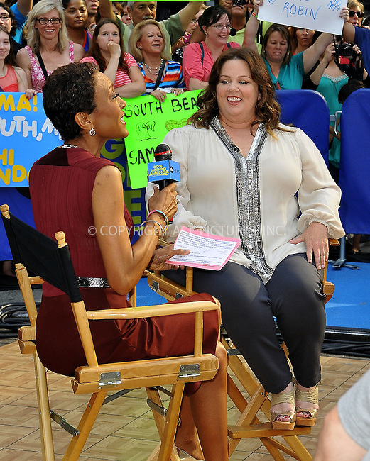 WWW.ACEPIXS.COM<br /> <br /> June 24 2013, New York City<br /> <br /> Actress Melissa McCarthy and Robin Roberts at Good Morning America on June 24 2013 in New York City<br /> <br /> By Line: Romeo/ACE Pictures<br /> <br /> <br /> ACE Pictures, Inc.<br /> tel: 646 769 0430<br /> Email: info@acepixs.com<br /> www.acepixs.com