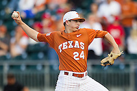 Texas Longhorns pitcher Parker French #24 delivers a pitch to the plate against the Oklahoma Sooners in the NCAA baseball game on April 5, 2013 at UFCU DischFalk Field in Austin Texas. Oklahoma defeated Texas 2-1. (Andrew Woolley/Four Seam Images).