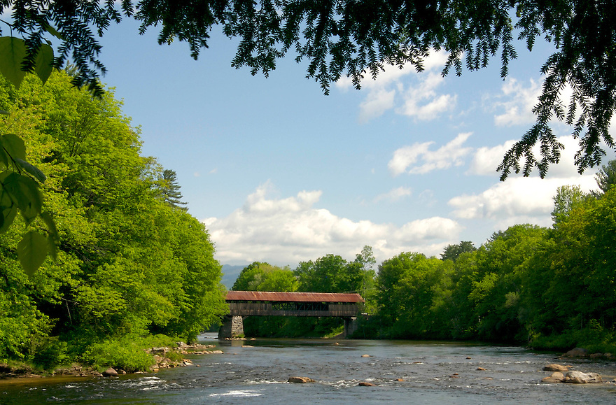 A look upstream to the Blair Covered Bridge on a summers day.
