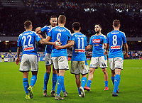 1st December 2019; Stadio San Paolo, Naples, Campania, Italy; Serie A Football, Napoli versus Bologna; Fernando Llorente is congratulated by team mates for his scoring his goal in the 41st minute for 1-0 - Editorial Use