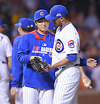 Tsuyoshi Wada, Hector Rondon (Cubs),<br /> JULY 28, 2014 - MLB : Chicago Cubs starting pitcher Tsuyoshi Wada and teammate Hector Rondon celebrate after winning the Major League Baseball game against the Colorado Rockies at Wrigley Field in Chicago, USA. The Cubs defeated the Rockies. Tsuyoshi Wada's first Major League win.<br /> (Photo by AFLO)