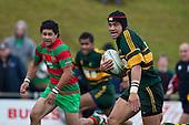 Maama Vaipula heads for the tryline. Counties Manukau McNamara Cup Premier Club Rugby final between Pukekohe andWaiuku, held at Bayer Growers Stadium, on Saturday July 17th. Waiuku won 25 - 20.