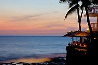 Sunset dining at Jameson's by the sea, Magic sands county beach park, Kailua Kona, The Big Island of Hawaii