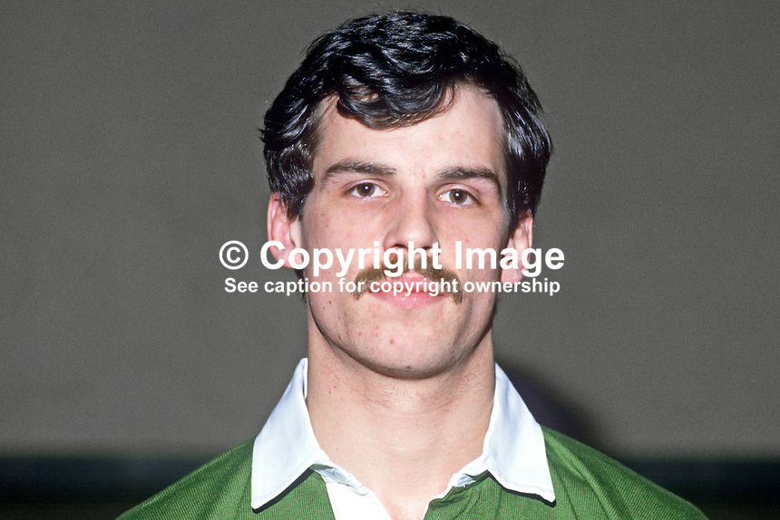 Paul Haycock, rugby player, Terenure RFC, Irish International, 19860105PH1.<br /> <br /> Copyright Image from Victor Patterson, 54 Dorchester Park, Belfast, UK, BT9 6RJ<br /> <br /> t: +44 28 90661296<br /> m: +44 7802 353836<br /> vm: +44 20 88167153<br /> e1: victorpatterson@me.com<br /> e2: victorpatterson@gmail.com<br /> <br /> For my Terms and Conditions of Use go to www.victorpatterson.com