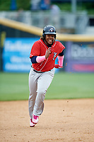 New Hampshire Fisher Cats third baseman Vladimir Guerrero Jr. (27) runs the bases during the first game of a doubleheader against the Harrisburg Senators on May 13, 2018 at FNB Field in Harrisburg, Pennsylvania.  New Hampshire defeated Harrisburg 6-1.  (Mike Janes/Four Seam Images)
