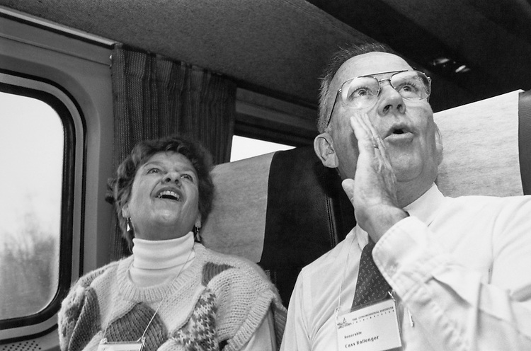 Rep. Cass Ballenger, R-N.C. and his wife, Donna Ballenger, on a train to the Princeton Republican Retreat. March 14, 1991. (Photo by Laura Patterson/CQ Roll Call)