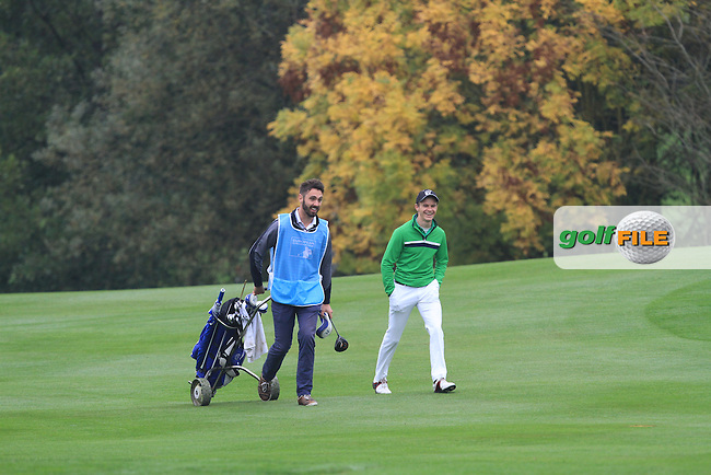 Mark Morrissey and Daan Huizing (NED) walking up the 2nd fairway during Round 4 of the Volopa Irish Challenge in Tullow, Co. Carlow on Sunday 10th October 2015.<br /> Picture:  Thos Caffrey / www.golffile.ie