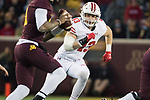 Wisconsin Badgers linebacker Ryan Connelly (43) pressures the quarterback during an NCAA College Big Ten Conference football game against the Minnesota Golden Gophers Saturday, November 25, 2017, in Minneapolis, Minnesota. The Badgers won 31-0. (Photo by David Stluka)