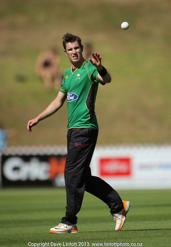 Adam Milne prepares to bowl during the Ford Trophy one-day cricket match between the Wellington Firebirds and Central Stags at Hawkins Finance Basin Reserve, Wellington, New Zealand on Thursday, 28 February 2013. Photo: Dave Lintott / lintottphoto.co.nz