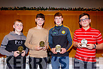 L-R Killian&Evan Boyle, Ballyduff, Darragh Conway, Lixnaw with Emanual BranKoic, Tralee Parnells at the North Kerry Hurling awards night in the Ballyroe Heights Hotel, Last Friday Nov 29.
