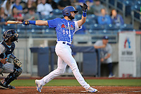 Tulsa Drillers left fielder Cody Thomas (20) swings at a pitch against the Corpus Christi Hooks at Oneok Stadium on May 4, 2019 in Tulsa, Oklahoma.  The Hooks won 9-7.  (Dennis Hubbard/Four Seam Images)