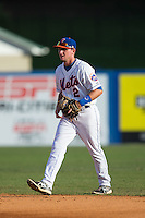 Kingsport Mets second baseman Dale Burdick (2) on defense against the Elizabethton Twins at Hunter Wright Stadium on July 9, 2015 in Kingsport, Tennessee.  The Twins defeated the Mets 9-7 in 11 innings. (Brian Westerholt/Four Seam Images)