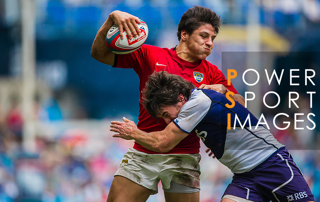 Scotland play Argentina in the Shield Semi-Final on Day 3 of the Cathay Pacific / HSBC Hong Kong Sevens 2013 on 24 March 2013 at Hong Kong Stadium, Hong Kong. Photo by Manuel Queimadelos / The Power of Sport Images