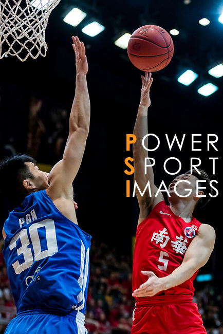 Lo Yi Ting #5 of SCAA Men's Basketball Team goes to the basket against the Eastern Long Lions during the Hong Kong Basketball League playoff game between SCAA and Eastern Long Lions at Queen Elizabeth Stadium on July 27, 2018 in Hong Kong. Photo by Yu Chun Christopher Wong / Power Sport Images