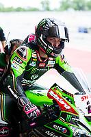9th July 2020; Circuit de Barcelona Catalunya, Barcelona, Spain; FIM Superbike World Championship Test, Day Two; Alex Lowes of the Kawasaki Racing Team Worldsbk leaves the garage on his  Kawasaki ZX 10RR
