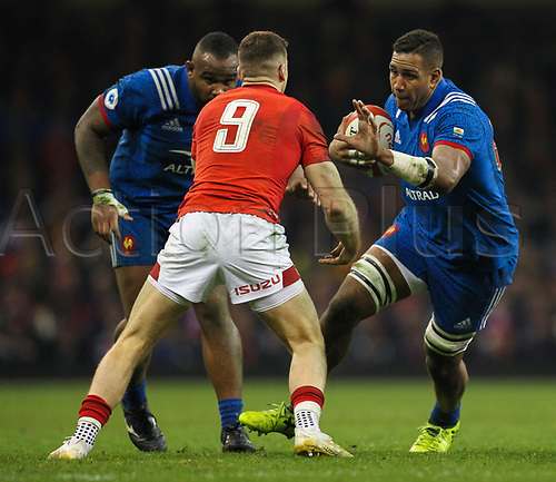 17th March 2018, Principality Stadium, Cardiff, Wales; NatWest Six Nations rugby, Wales versus France; Mathieu Babillot of France makes a break