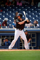 Nashville Sounds left fielder Chris Parmelee (25) at bat during a game against the New Orleans Baby Cakes on May 1, 2017 at First Tennessee Park in Nashville, Tennessee.  Nashville defeated New Orleans 6-4.  (Mike Janes/Four Seam Images)