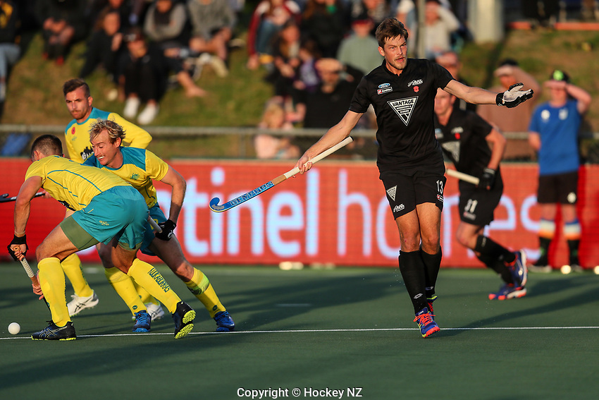 Marcus Child. Pro League Hockey, Vantage Blacksticks Men v Australia, ANZAC test. North Harbour Hockey Stadium, Auckland, New Zealand. Thursday 25 April 2019. Photo: Simon Watts/Hockey NZ