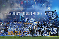 SAN JOSE, CA - SEPTEMBER 29: The grounds crew cleans up streamers off the field by the supporter's section during a Major League Soccer (MLS) match between the San Jose Earthquakes and the Seattle Sounders on September 29, 2019 at Avaya Stadium in San Jose, California.