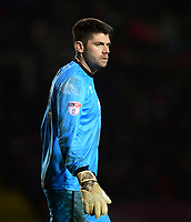 Cheltenham Town's Scott Flinders<br /> <br /> Photographer Chris Vaughan/CameraSport<br /> <br /> The EFL Sky Bet League Two - Lincoln City v Cheltenham Town - Tuesday 13th February 2018 - Sincil Bank - Lincoln<br /> <br /> World Copyright &copy; 2018 CameraSport. All rights reserved. 43 Linden Ave. Countesthorpe. Leicester. England. LE8 5PG - Tel: +44 (0) 116 277 4147 - admin@camerasport.com - www.camerasport.com