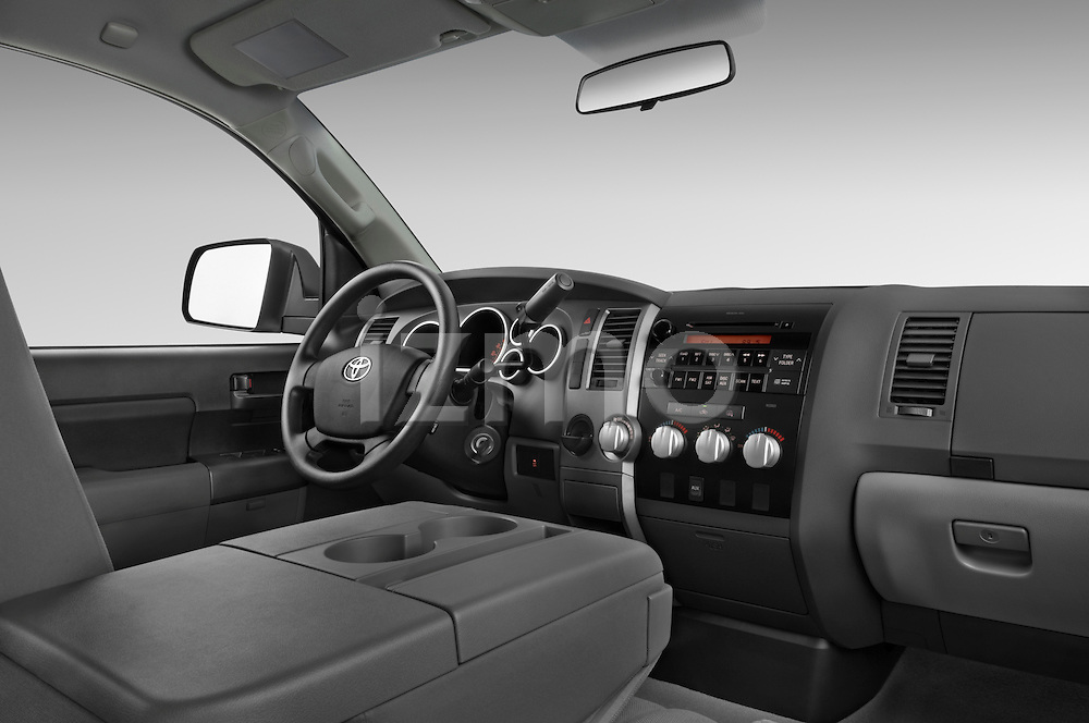 Low angle passenger side dashboard view of a 2010 Toyota Tundra Double Cab 2WD