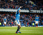 Joe Garner celebrates scoring his hat-trick