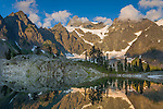North Cascades National Park, WA<br /> Mt Shuksan with Curtis Glacier mirror reflections on Lake Ann