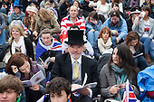 The Royal Wedding of HRH Prince William to Kate Middleton. Spectators in Trafalgar Square.