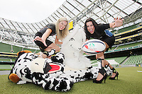 NO REPRO FEE. 8/9/2010. Bóthar launching Rugby Rocks Fashion. Ms Limerick, Valerie Somers and Ms Clare, Alice Carroll are pictured with Bóthar Mascots Cow and Goat at the the Aviva Stadium, Lansdowne Road, Dublin to launch Bóthar's Rugby Rocks Fashion.This is the first fashion event to take place at the newly developed stadium. Tickets are EUR60 and discounts are available with multiple purchases. Log onto www.bothar.ie for further information or call 1850 82 99 99.. Picture James Horan/Collins