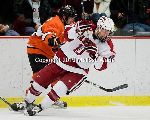 Mike Kramer (Princeton - 21), Eric Kroshus (Harvard - 10) - The Princeton University Tigers defeated the Harvard University Crimson 2-1 on Friday, January 29, 2010, at Bright Hockey Center in Cambridge, Massachusetts.