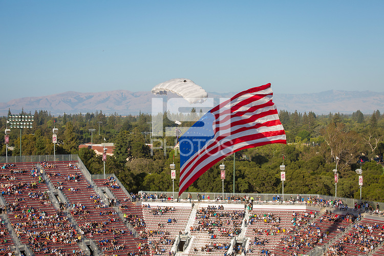 Stanford, CA - Saturday June 30, 2018: Pre-game, American flag prior to a Major League Soccer (MLS) match between the San Jose Earthquakes and the LA Galaxy at Stanford Stadium.