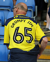 A Oxford United fan lets everyone know how his side's performance makes him feel<br /> <br /> Photographer David Shipman/CameraSport<br /> <br /> The EFL Sky Bet League One - Oxford United v Fleetwood Town - Saturday August 11th 2018 - Kassam Stadium - Oxford<br /> <br /> World Copyright &copy; 2018 CameraSport. All rights reserved. 43 Linden Ave. Countesthorpe. Leicester. England. LE8 5PG - Tel: +44 (0) 116 277 4147 - admin@camerasport.com - www.camerasport.com