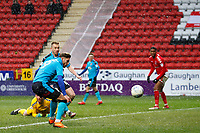 Wes Burns of Fleetwood Town sees a chance go begging during the Sky Bet League 1 match between Charlton Athletic and Fleetwood Town at The Valley, London, England on 17 March 2018. Photo by Carlton Myrie.